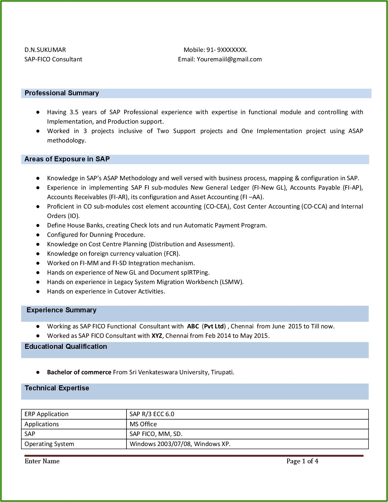 Sap End User Resume Format