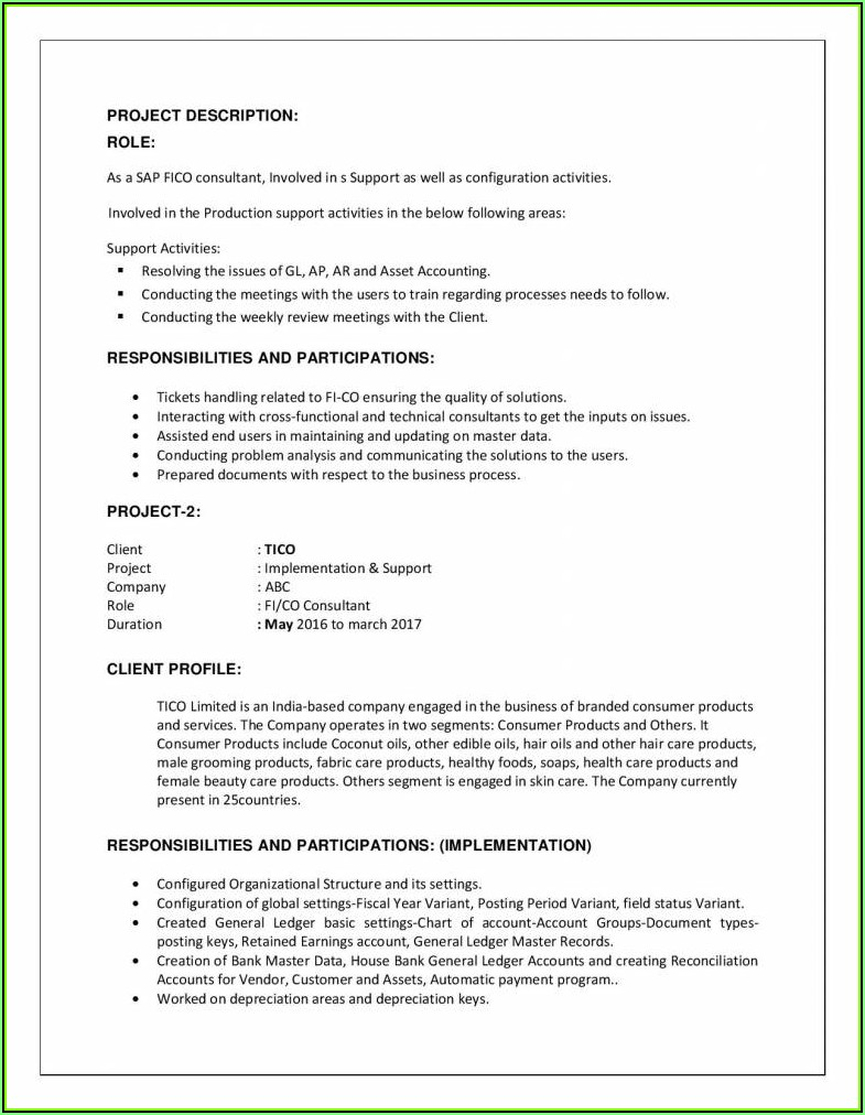 Sap End User Resume Sample