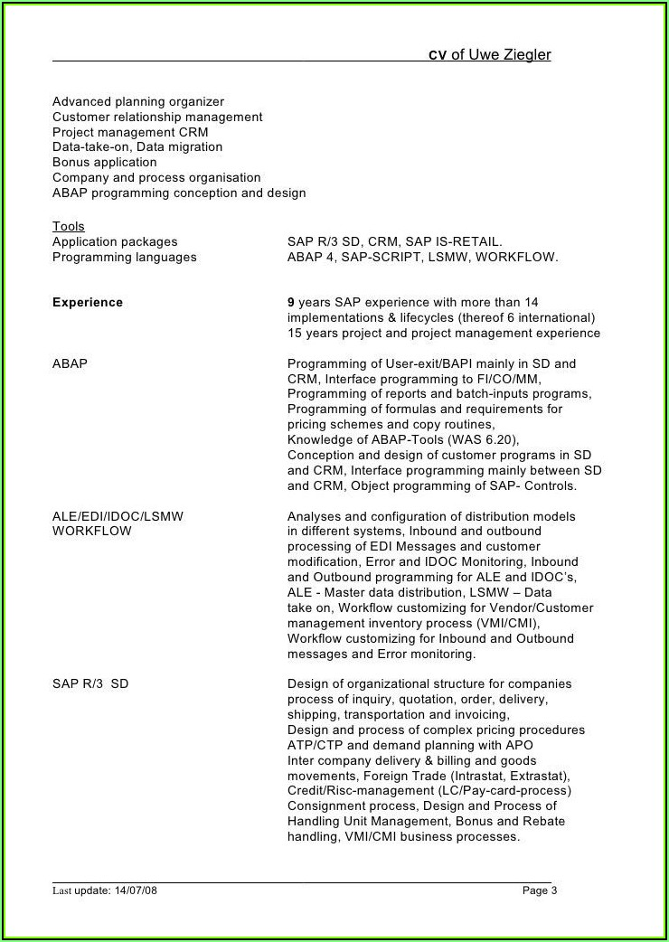 Sap Security Sample Resume