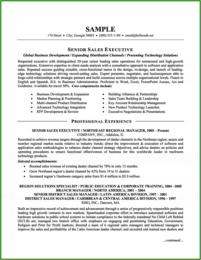 Senior Sales And Marketing Executive Resume Sample