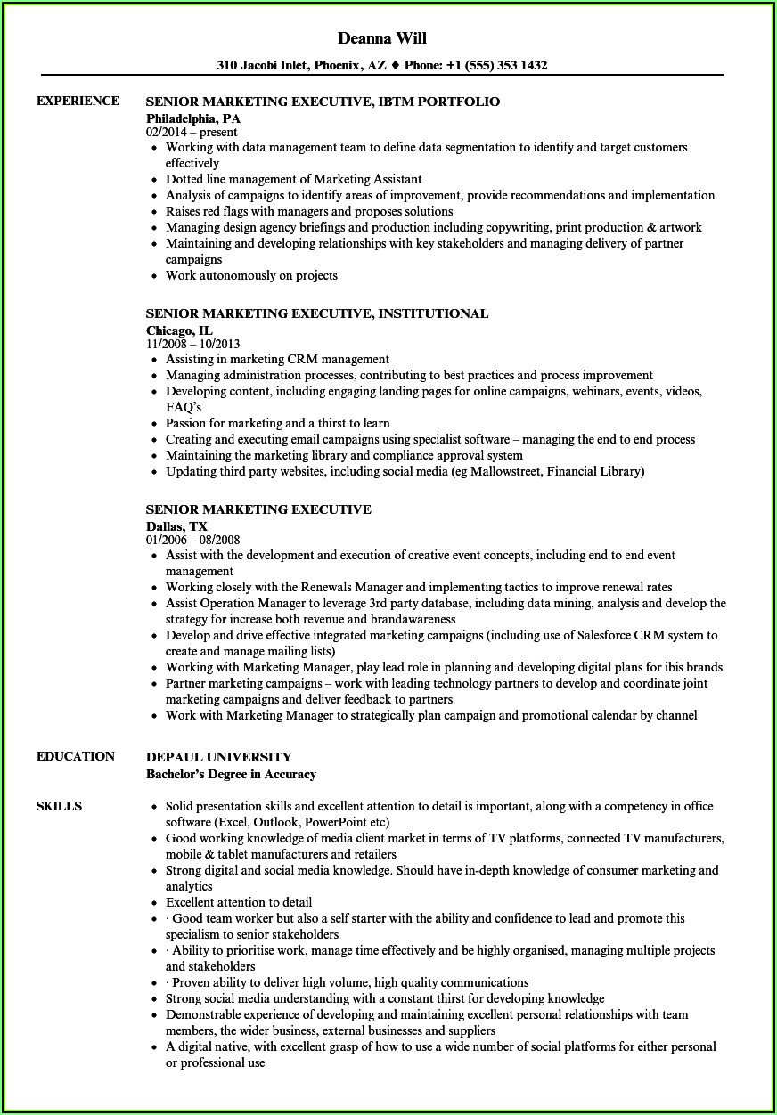 Senior Sales Executive Cv Sample