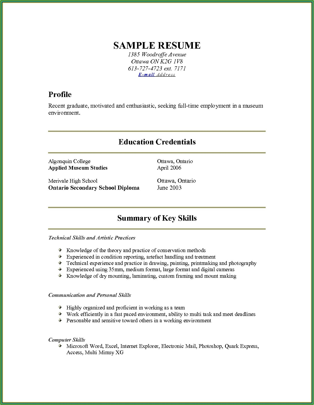 Show Resume Examples