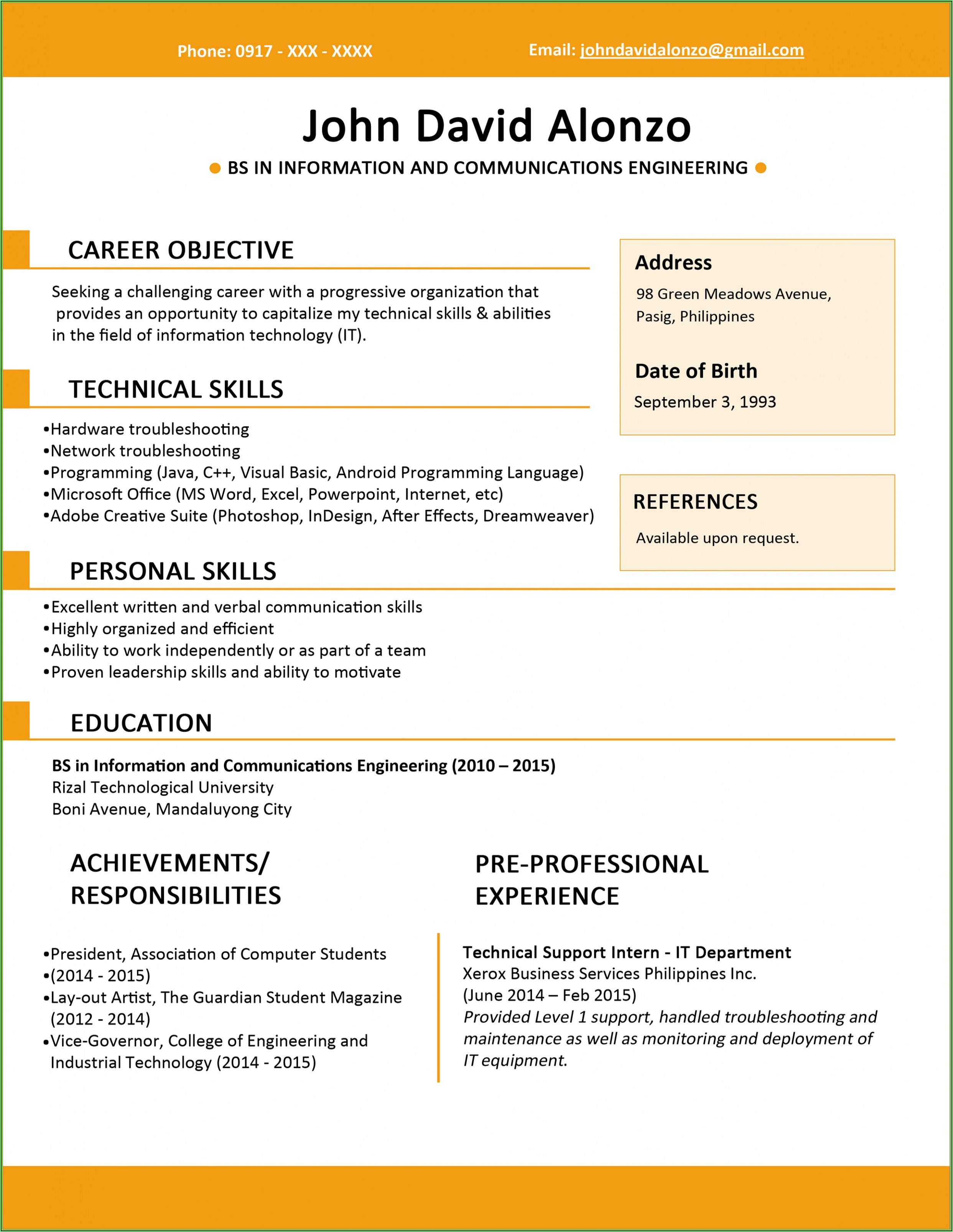 Simple Easy Resume Format