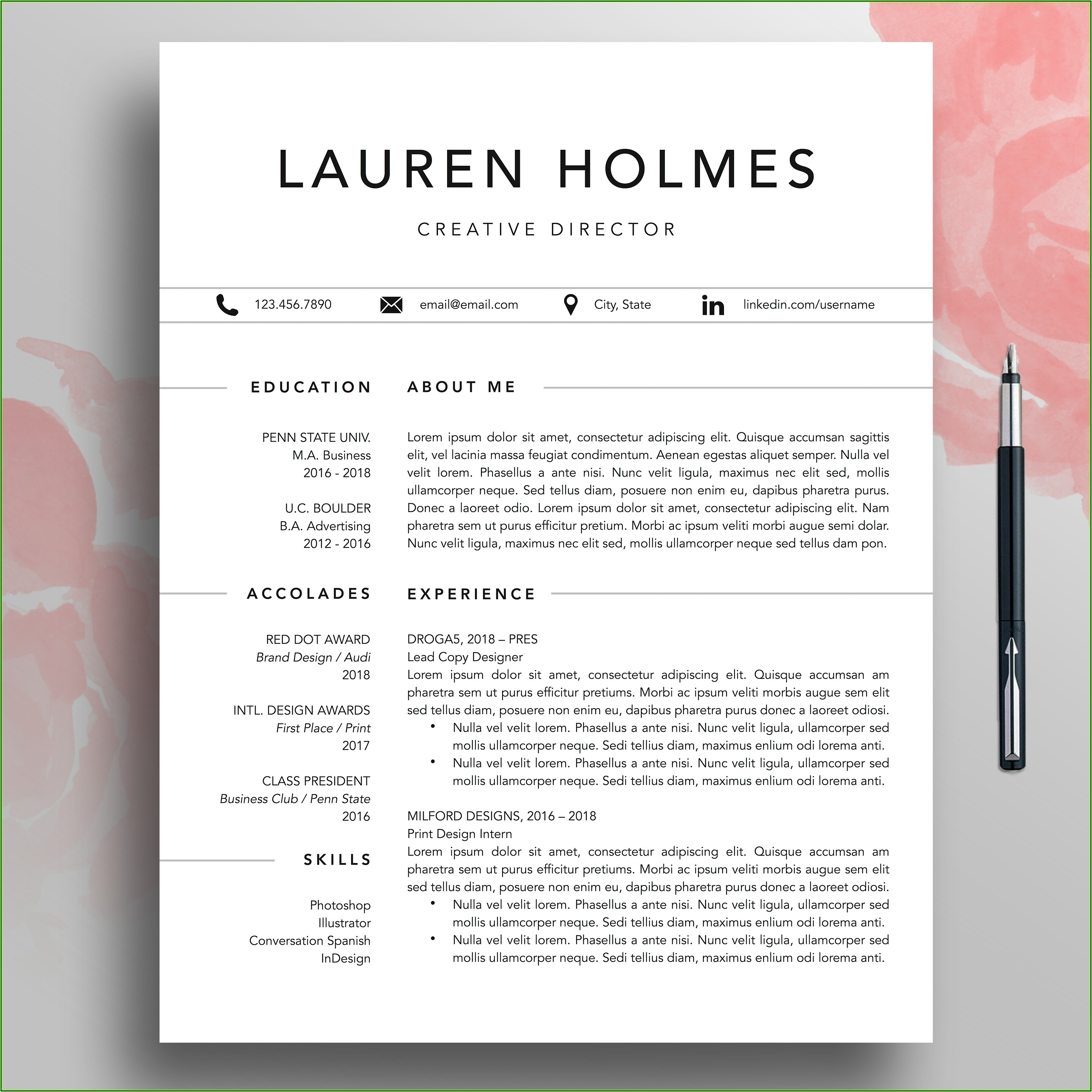 Simple Easy To Read Resume
