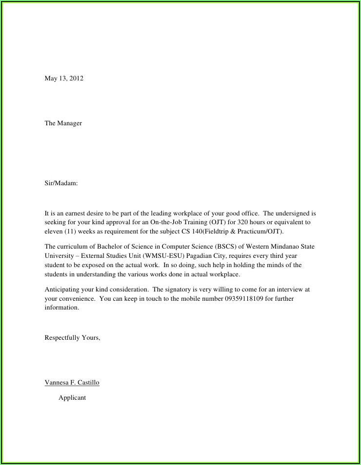 Simple Example Of Resume Letter