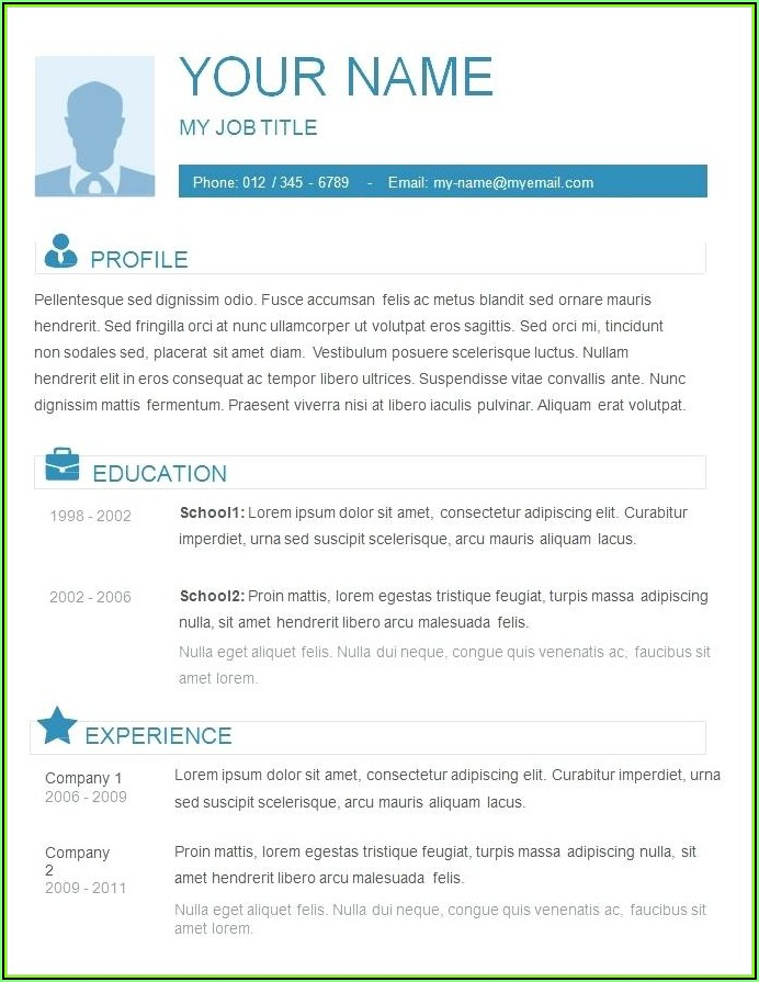 Simple Resume Format Free Download In Ms Word