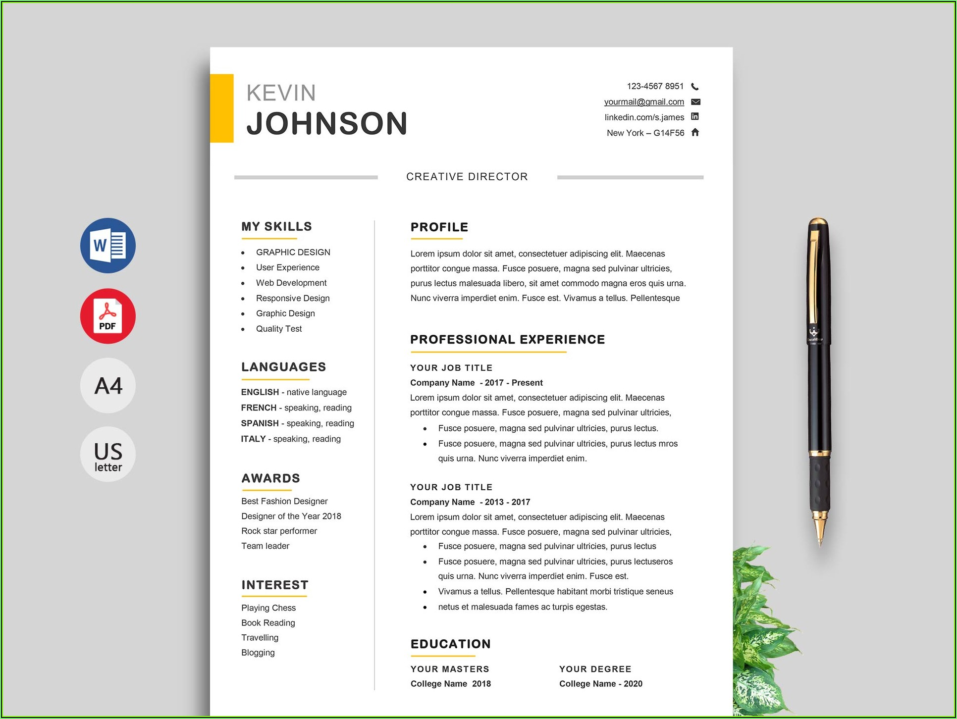 Simple Resume Format Template Download