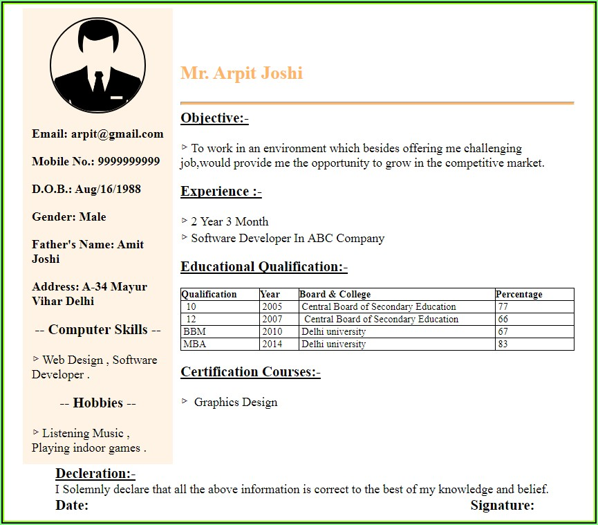 Simple Resume Maker For Fresher