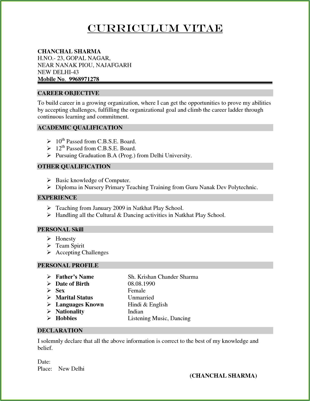 Simple Resume Maker India