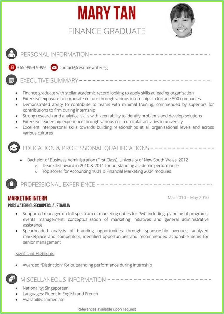 Singapore Standard Resume Samples