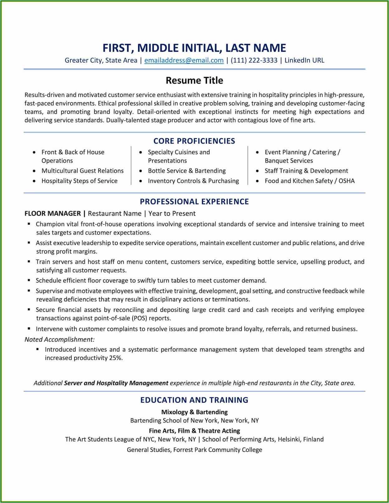 Skills Based Resume Template Canada
