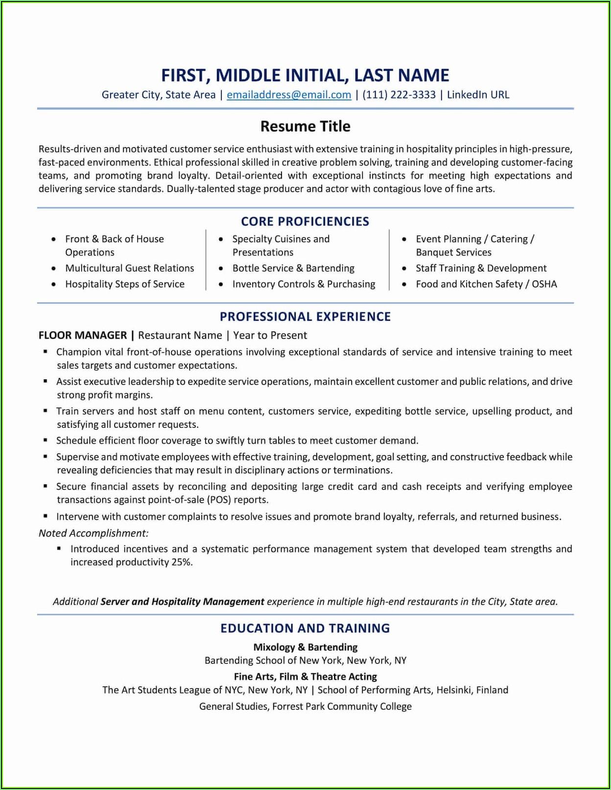 Skills Based Resume Template Canada