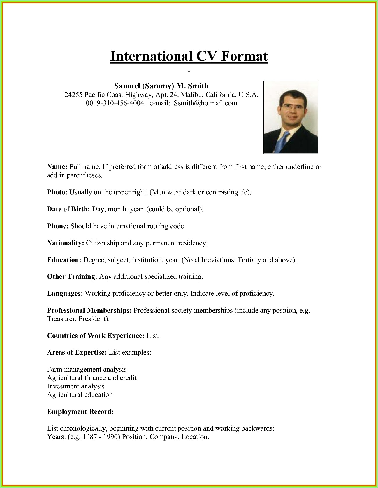 Some Professional Resume Format