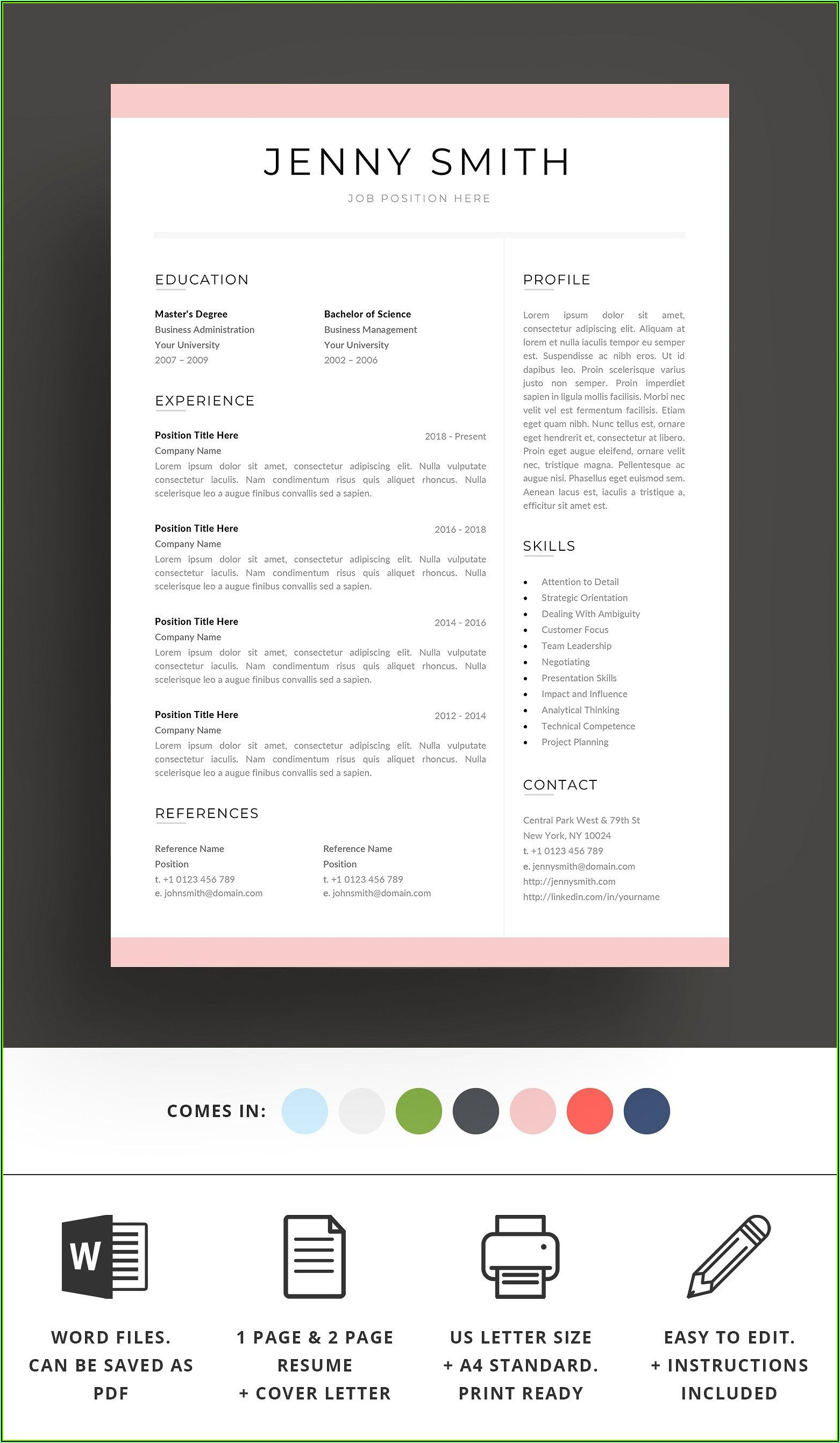 Standard Resume Template Word