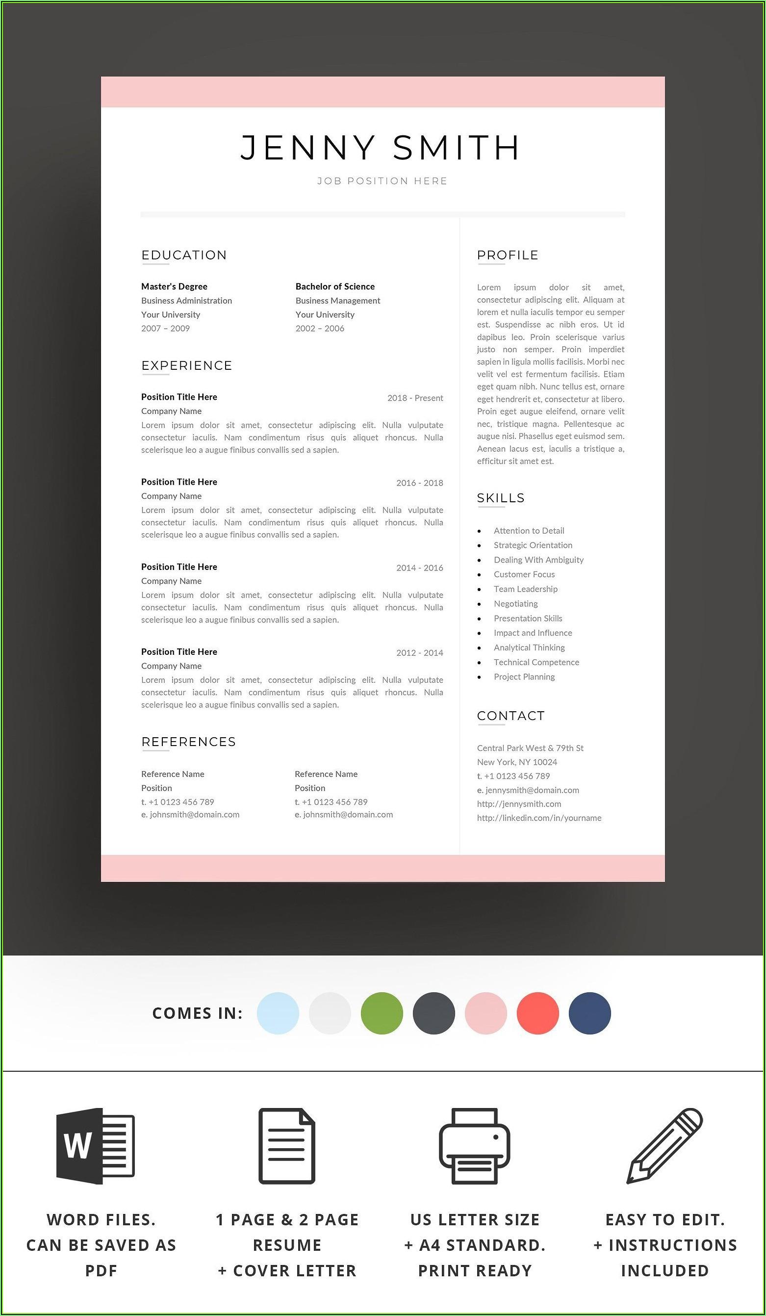 Standard Resume Template Word