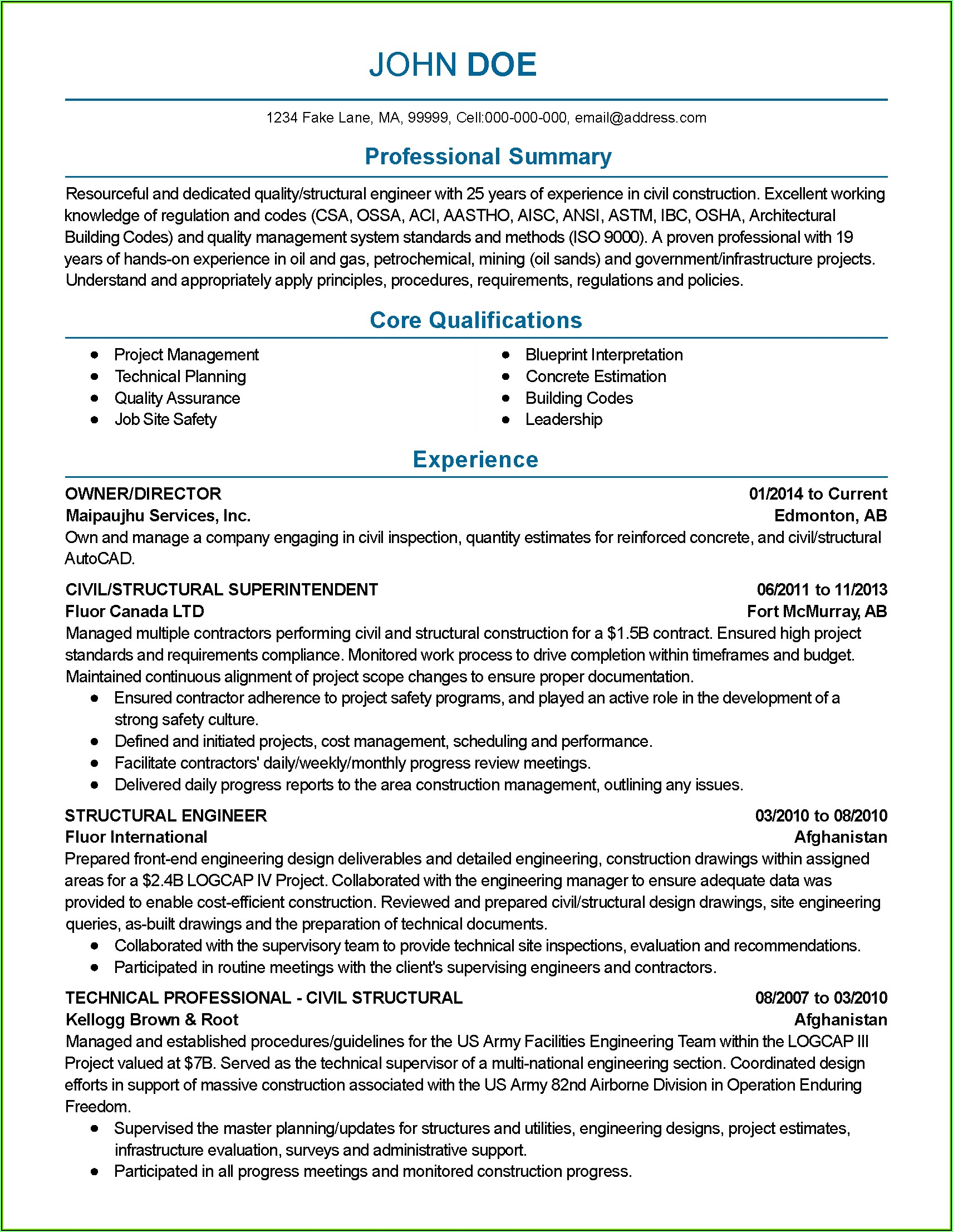 Test Manager Resume Template