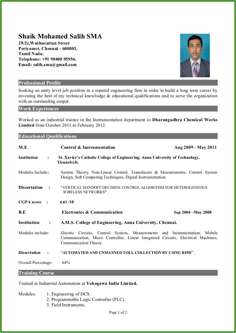 Top 10 Resume Templates For Freshers