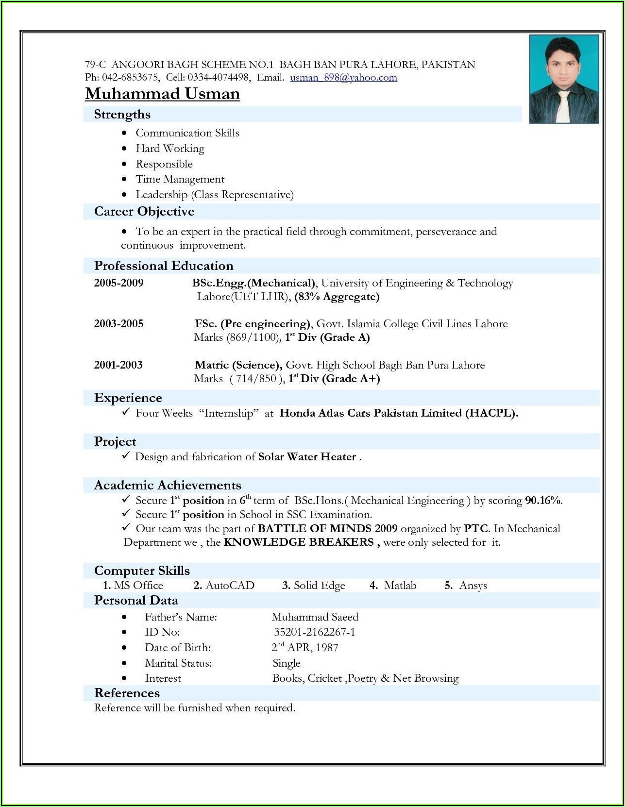 Top Best Resume Format Download