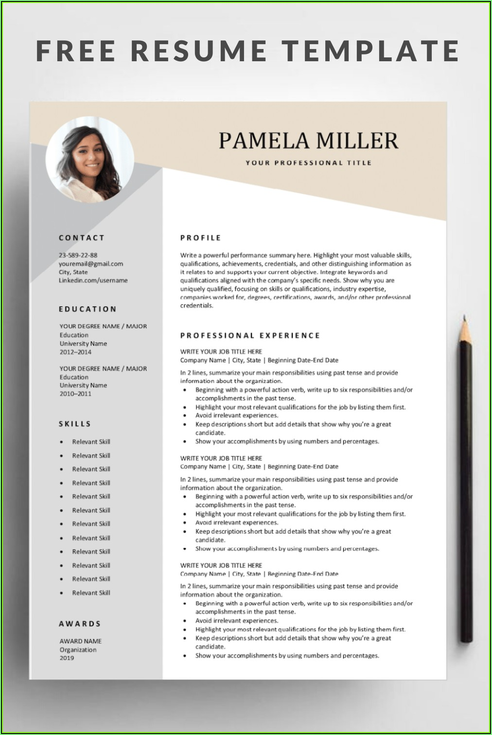 Totally Free Downloadable Resume Templates
