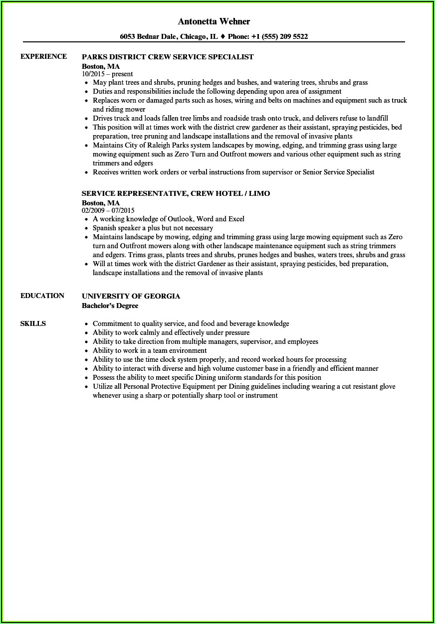 Tree Trimmer Resume Sample