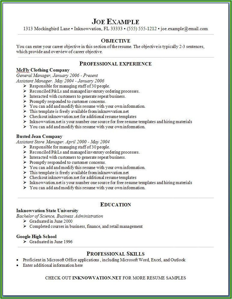 View Free Resume Samples