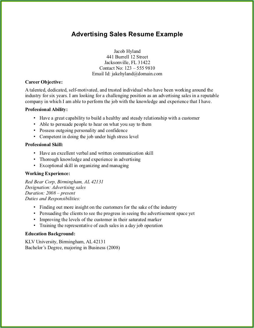 Writing A Sales Resume