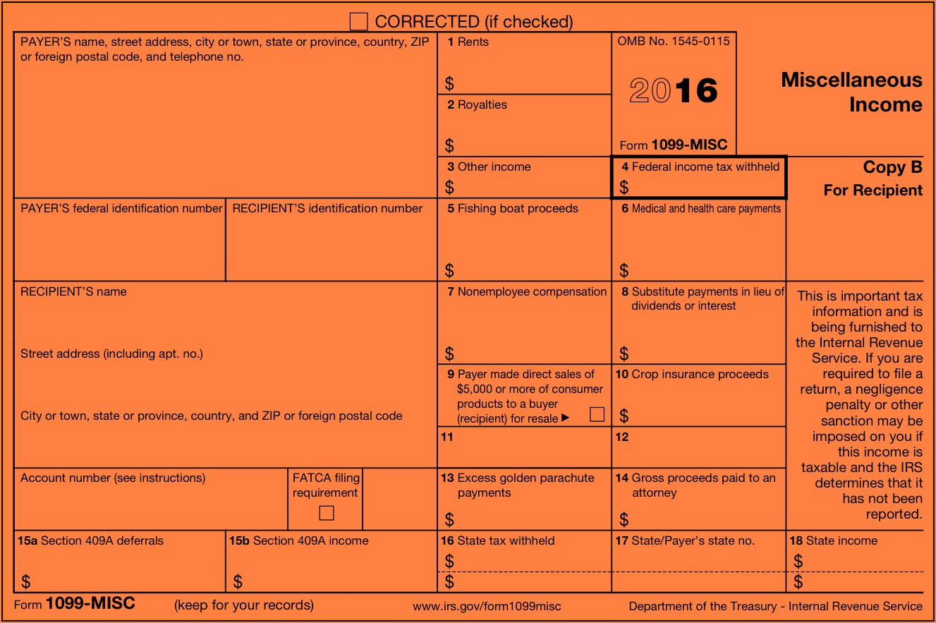 1099 Misc Form Other Income