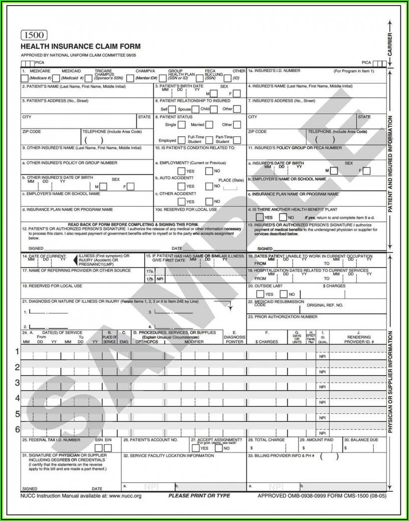 1500 Claim Form Template