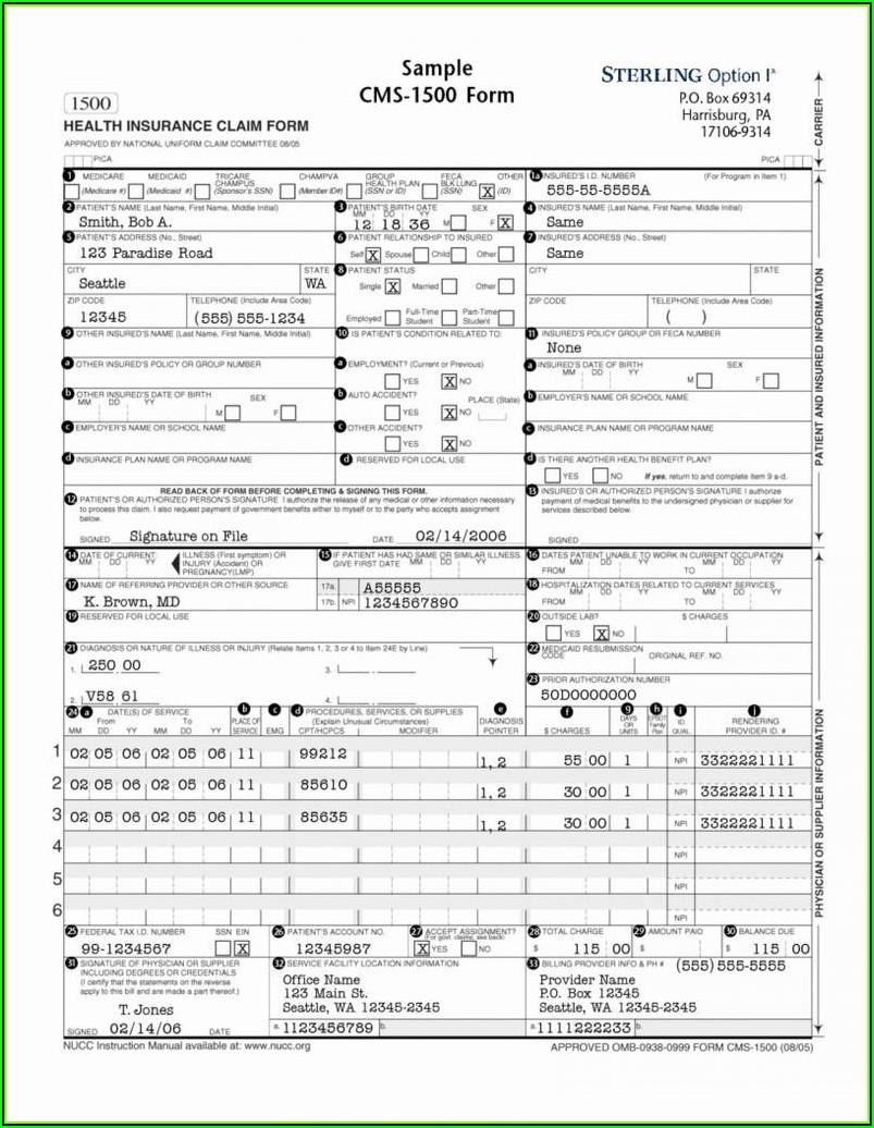 1500 Insurance Claim Form Template