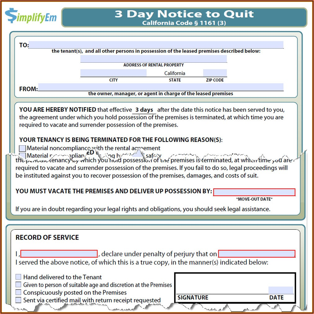 3 Day Notice To Cure Or Quit Form California