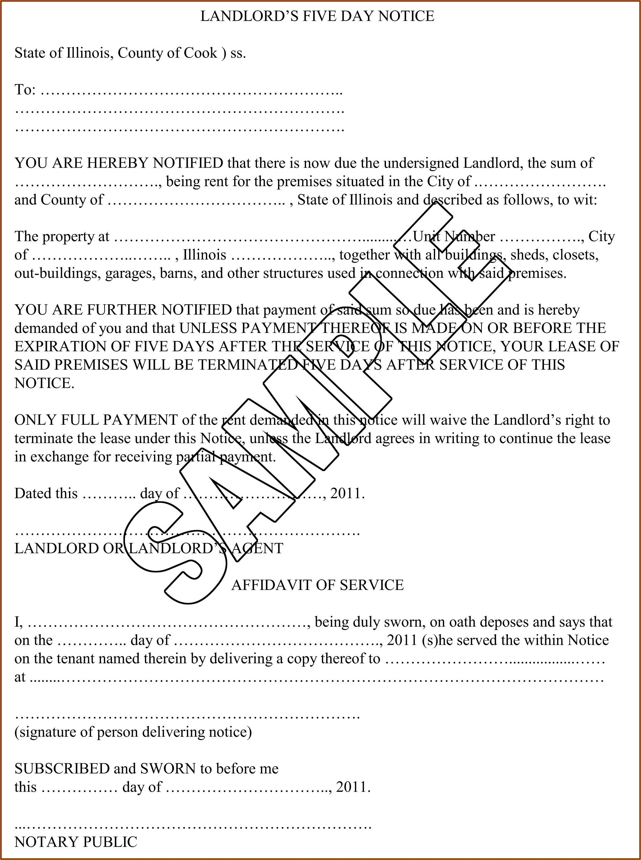 5 Day Eviction Notice Illinois Sample