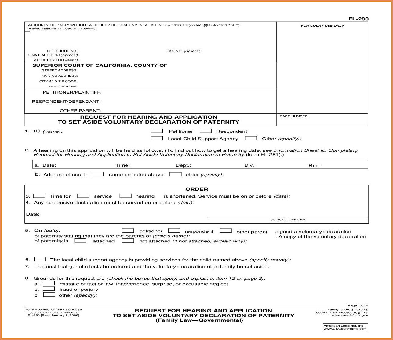 Acknowledgement Of Paternity Parentage Form California