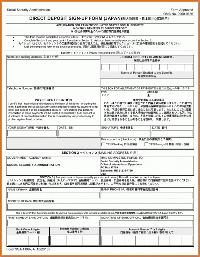 Adp Direct Deposit Form Template