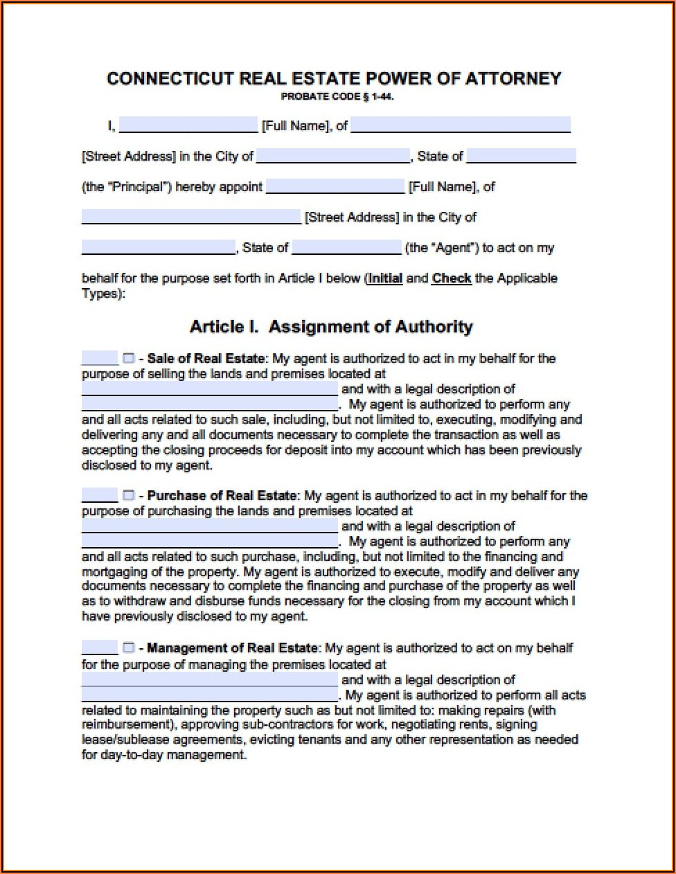 Advance Directives Forms Ct