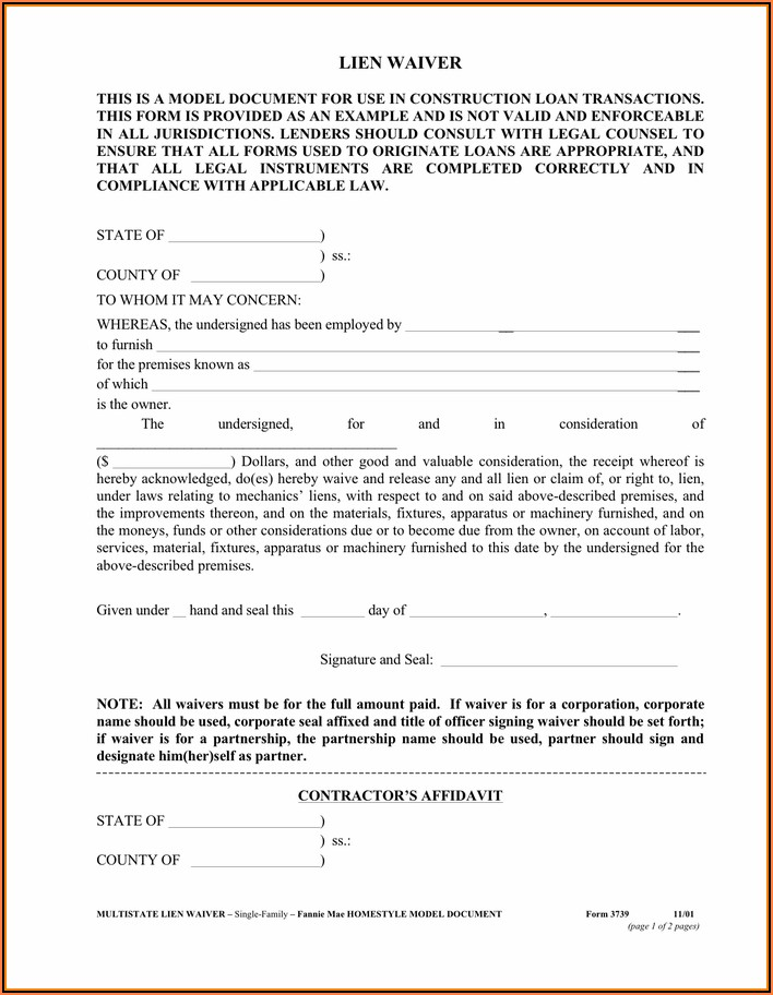 Affidavit And Waiver Of Lien Form