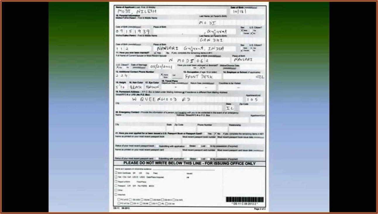 American Passport Renewal Application Form