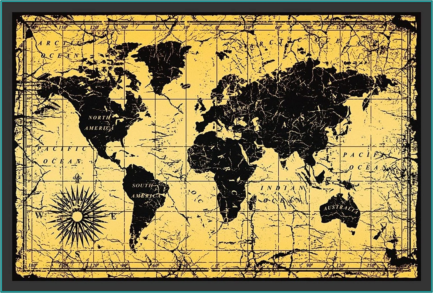 Antique Style World Map Framed Print