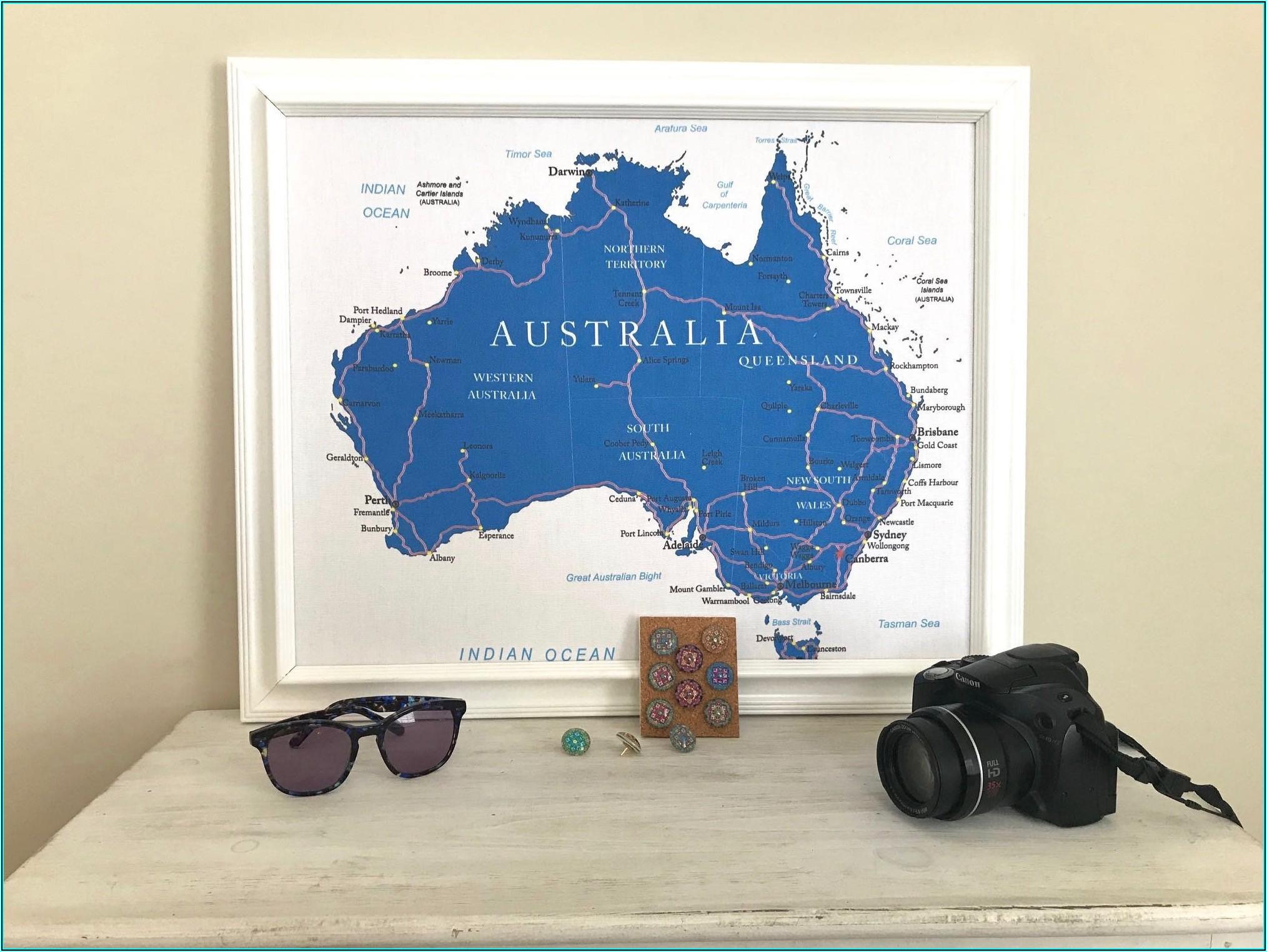 Australia Map On Cork Board