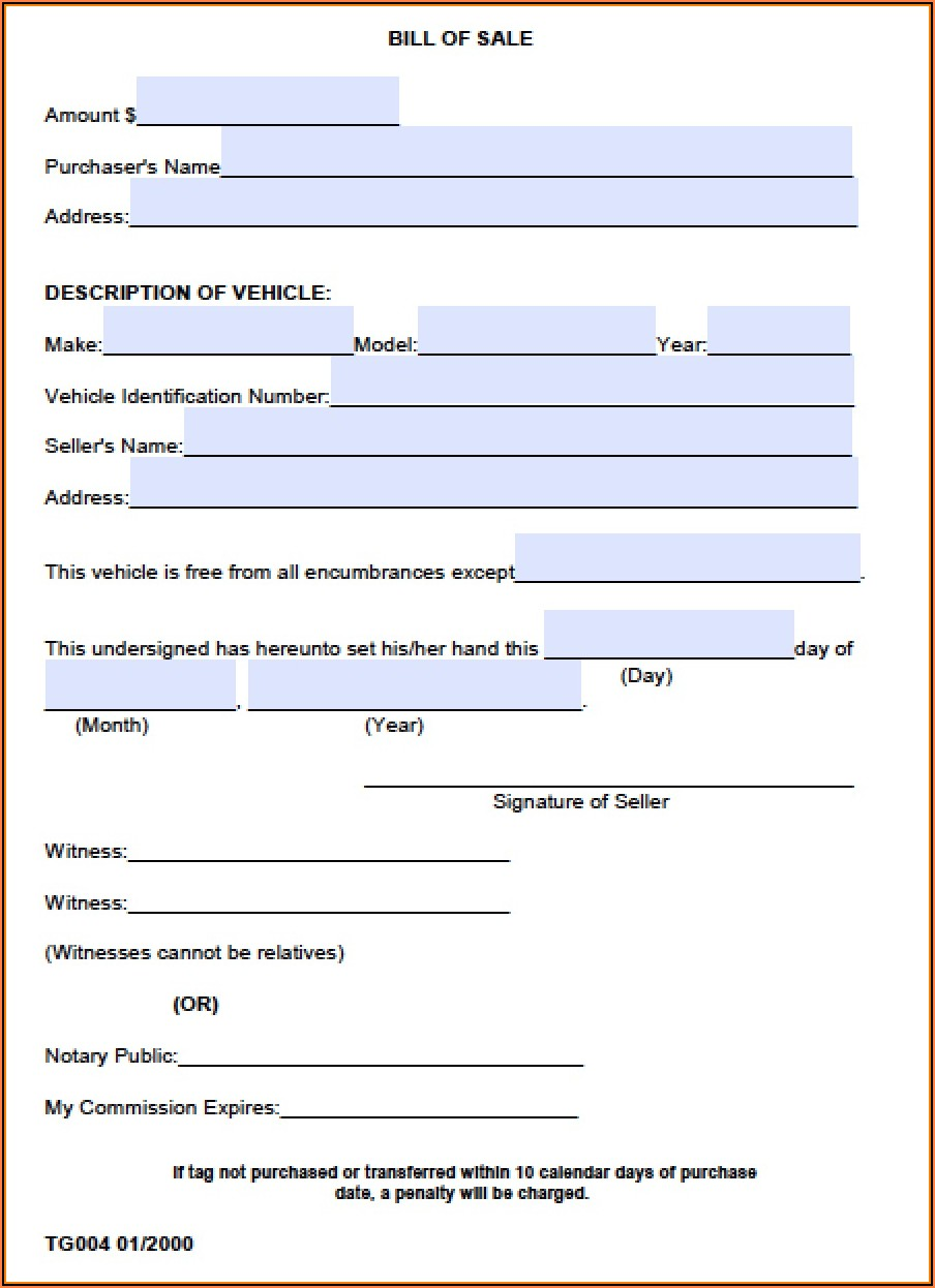Auto Bill Of Sale Form Alabama