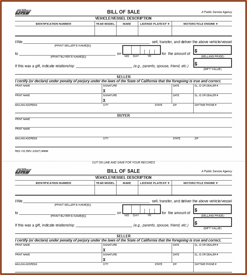 Auto Bill Of Sale Form California