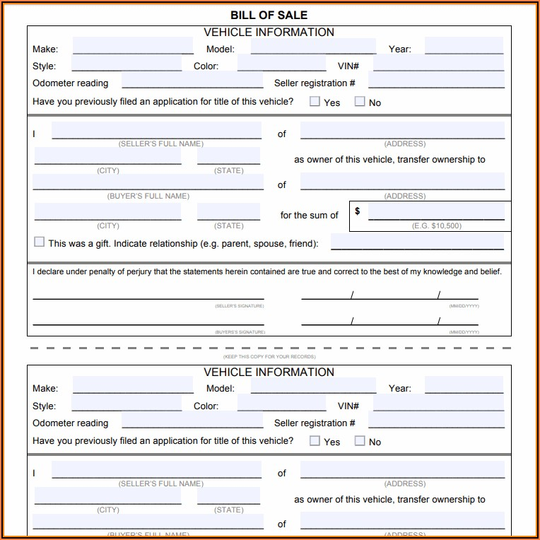 Auto Bill Of Sale Form Florida