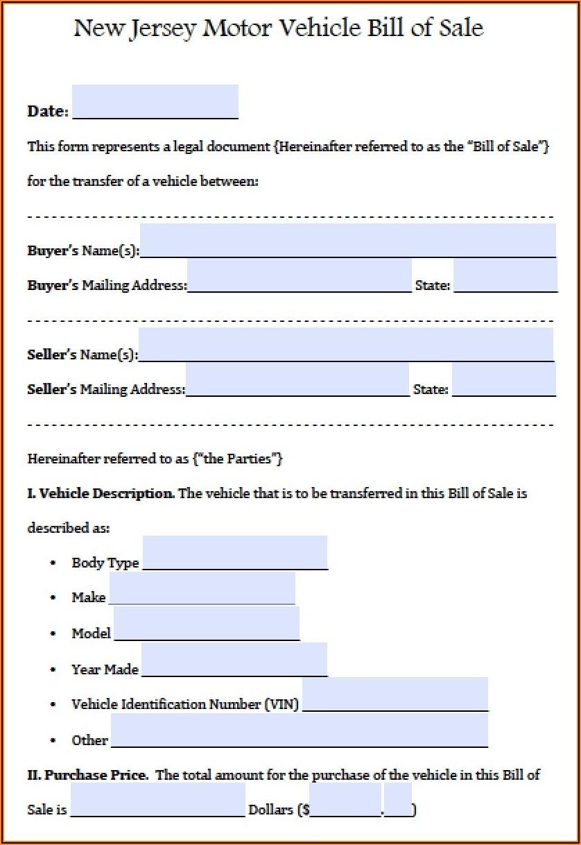 Auto Bill Of Sale Form Free