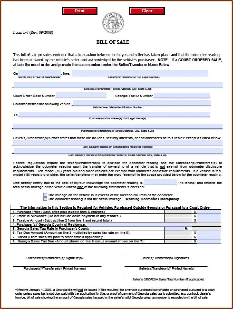 Auto Bill Of Sale Form Ga