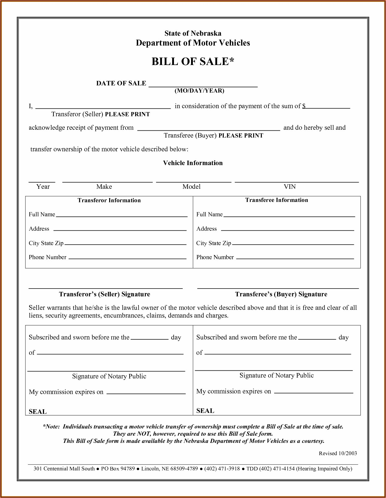 Auto Bill Of Sale Form Printable