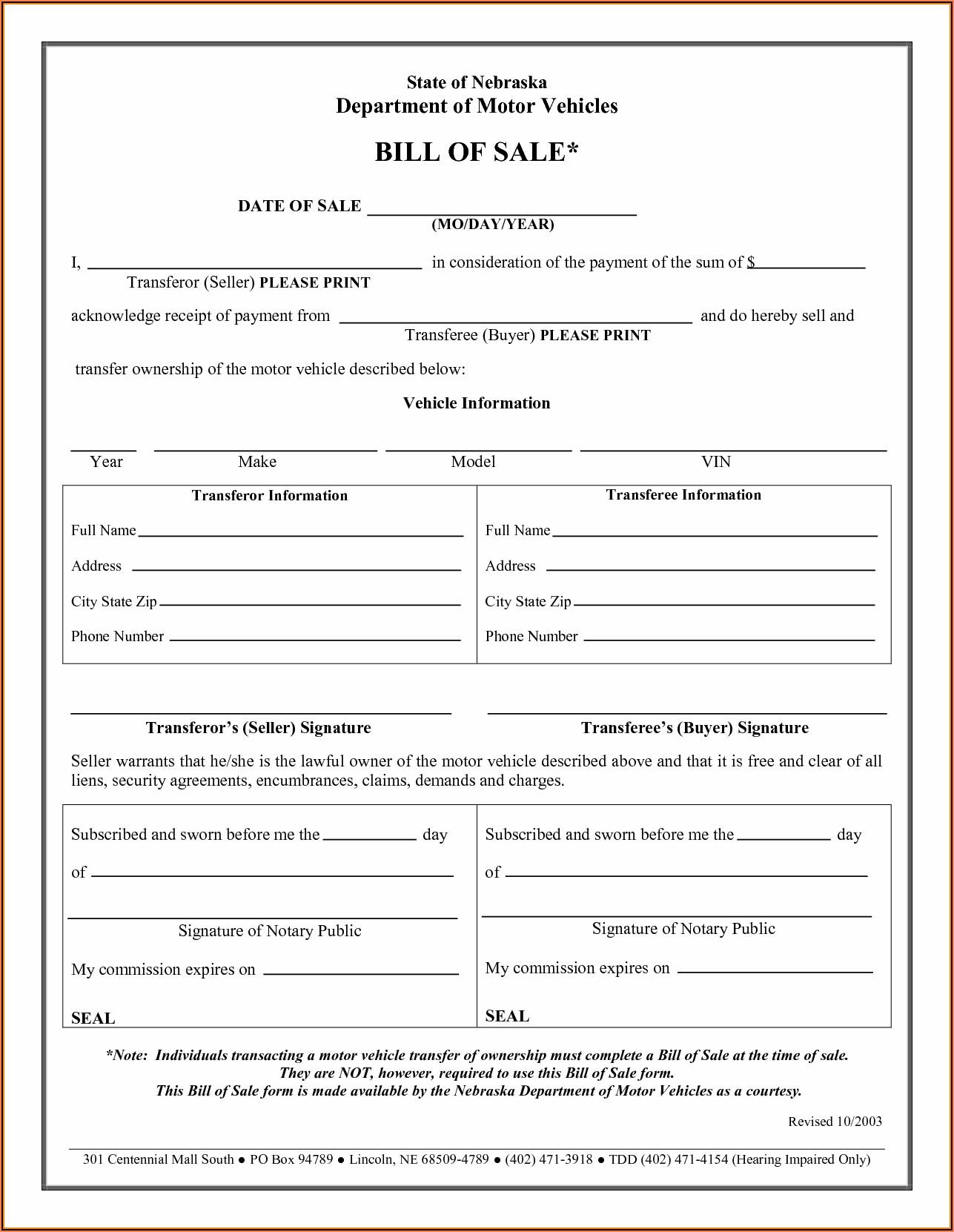 Auto Bill Of Sale Form Printable