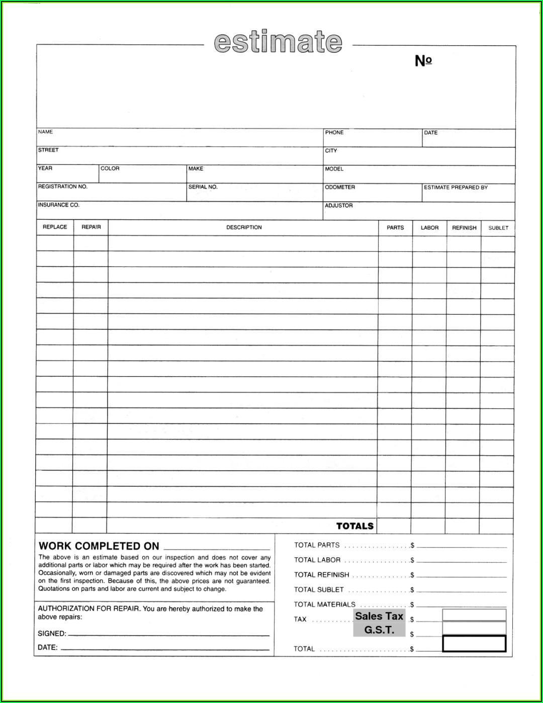 Auto Repair Estimate Forms Free Download