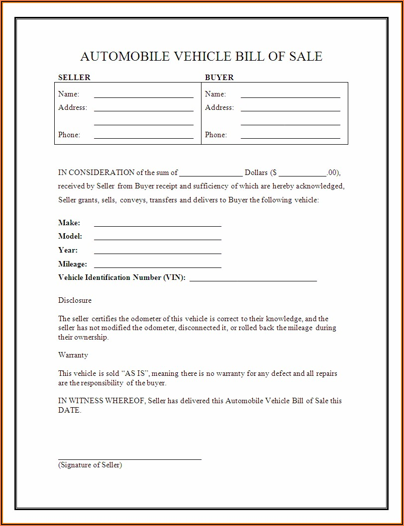 Auto Sale Bill Of Sale Form