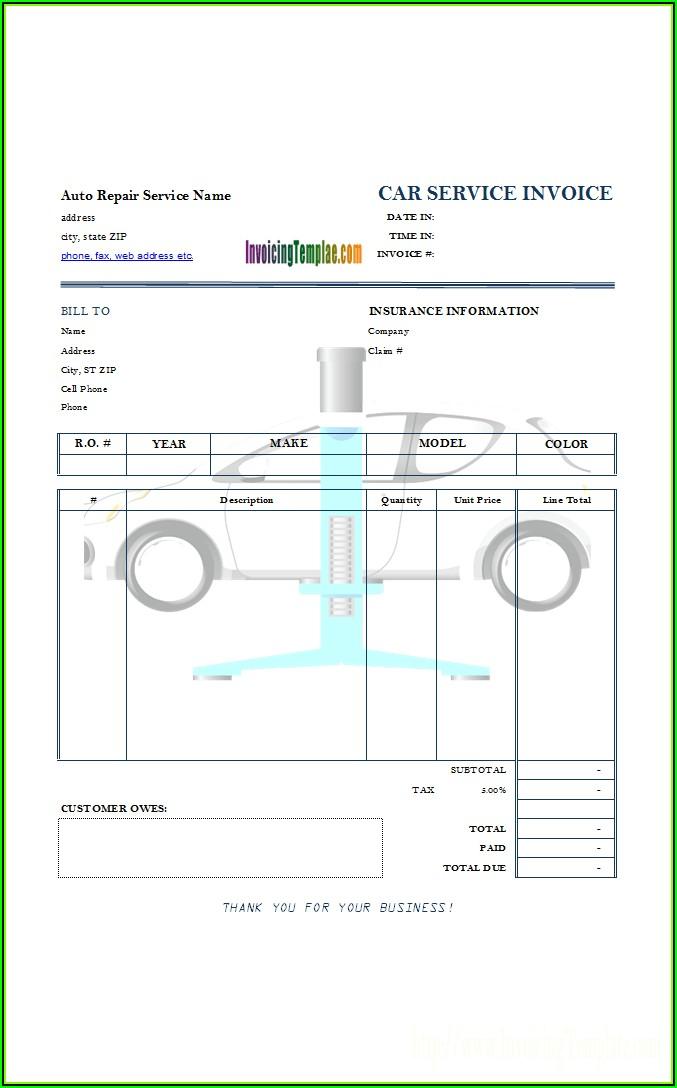 Automotive Service Invoice Template