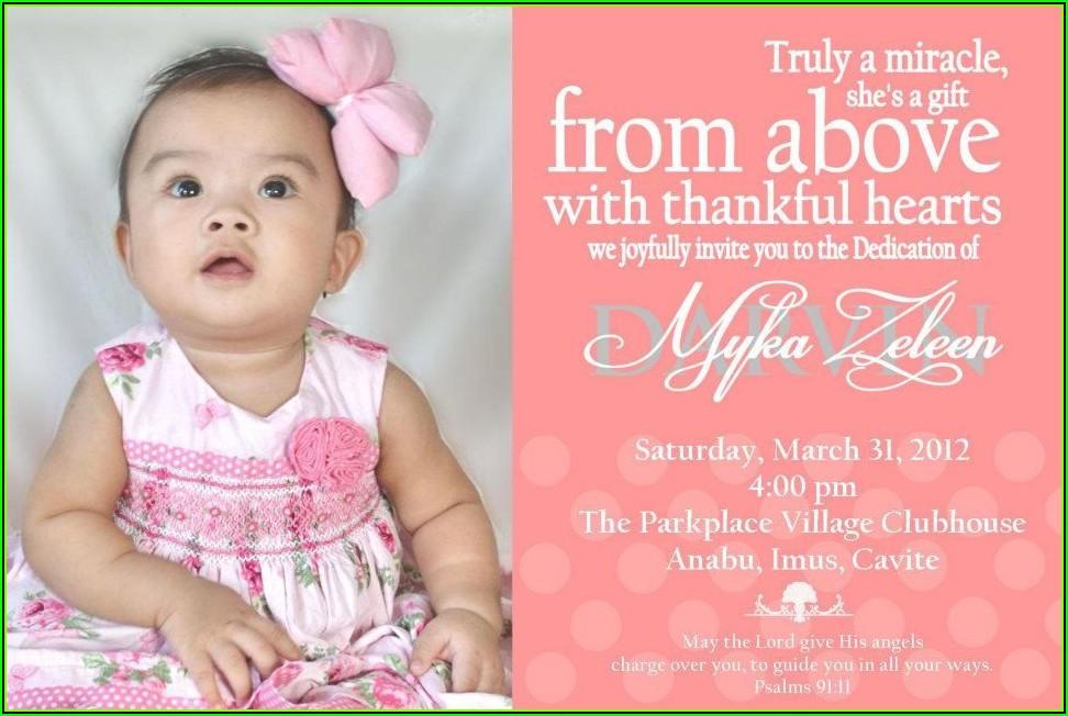 Baby Dedication Invitations Free Template