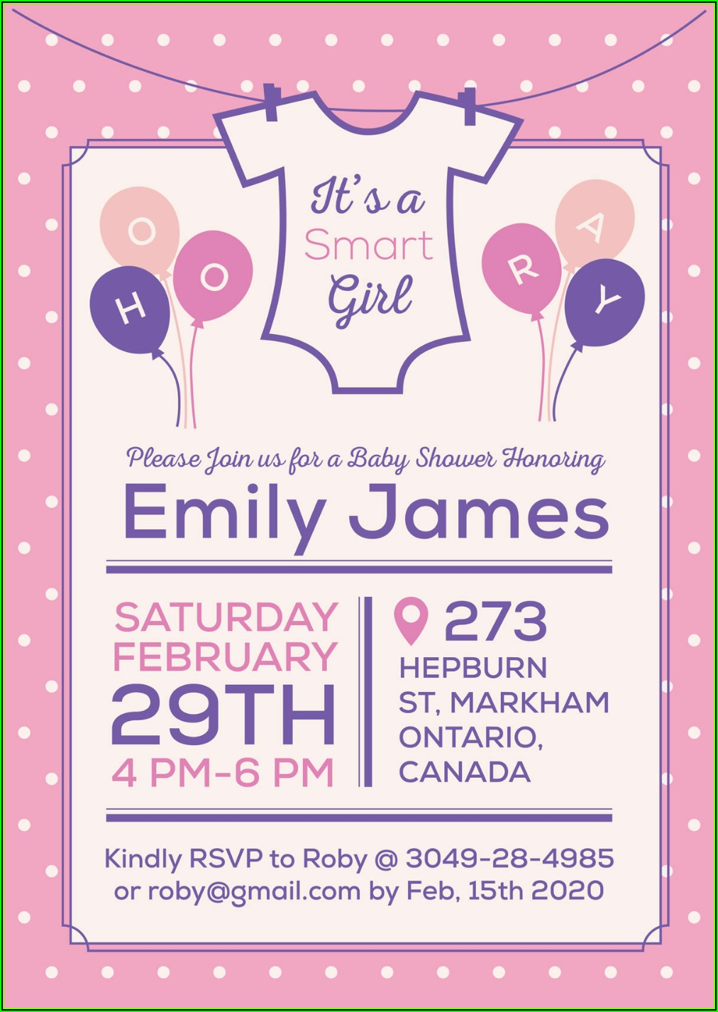 Baby Girl Baby Shower Invitation Card Template